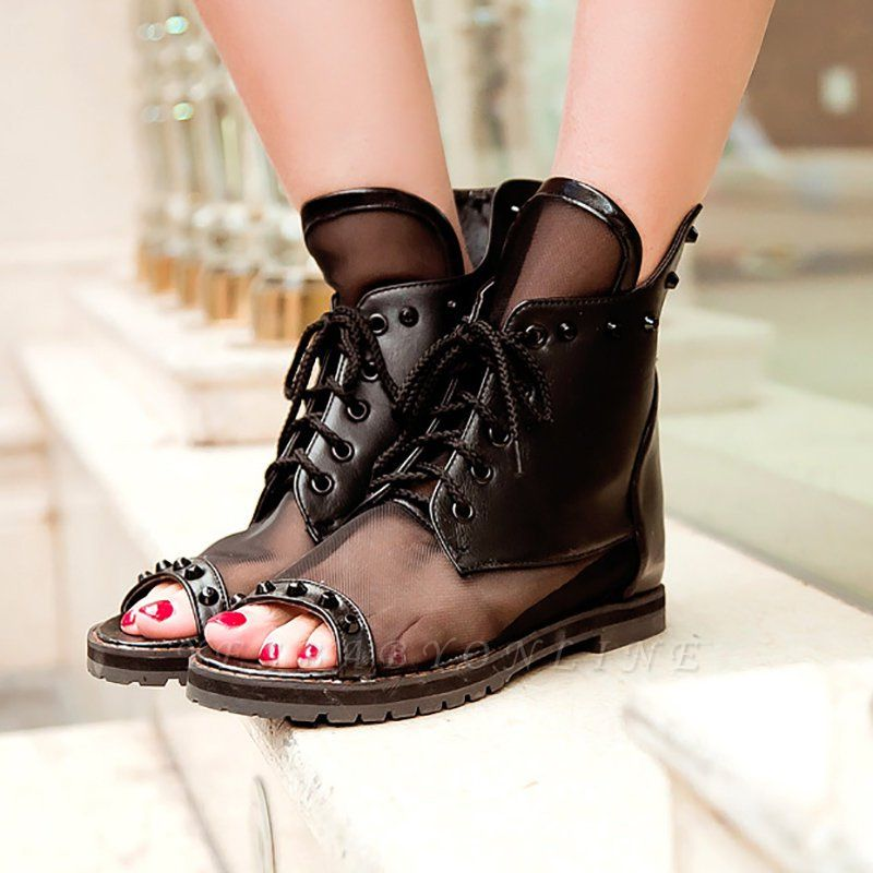 Rivet Mesh Peep Toe Lace-up Chunky Boots