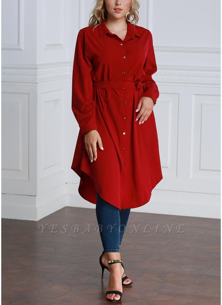 Women Long Sleeve Irregular Hem Belted Solid Tunic Plus Size Shirt