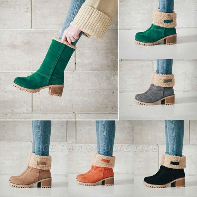 Nubuck Chunky Heel Slip-On Round Toe Boots