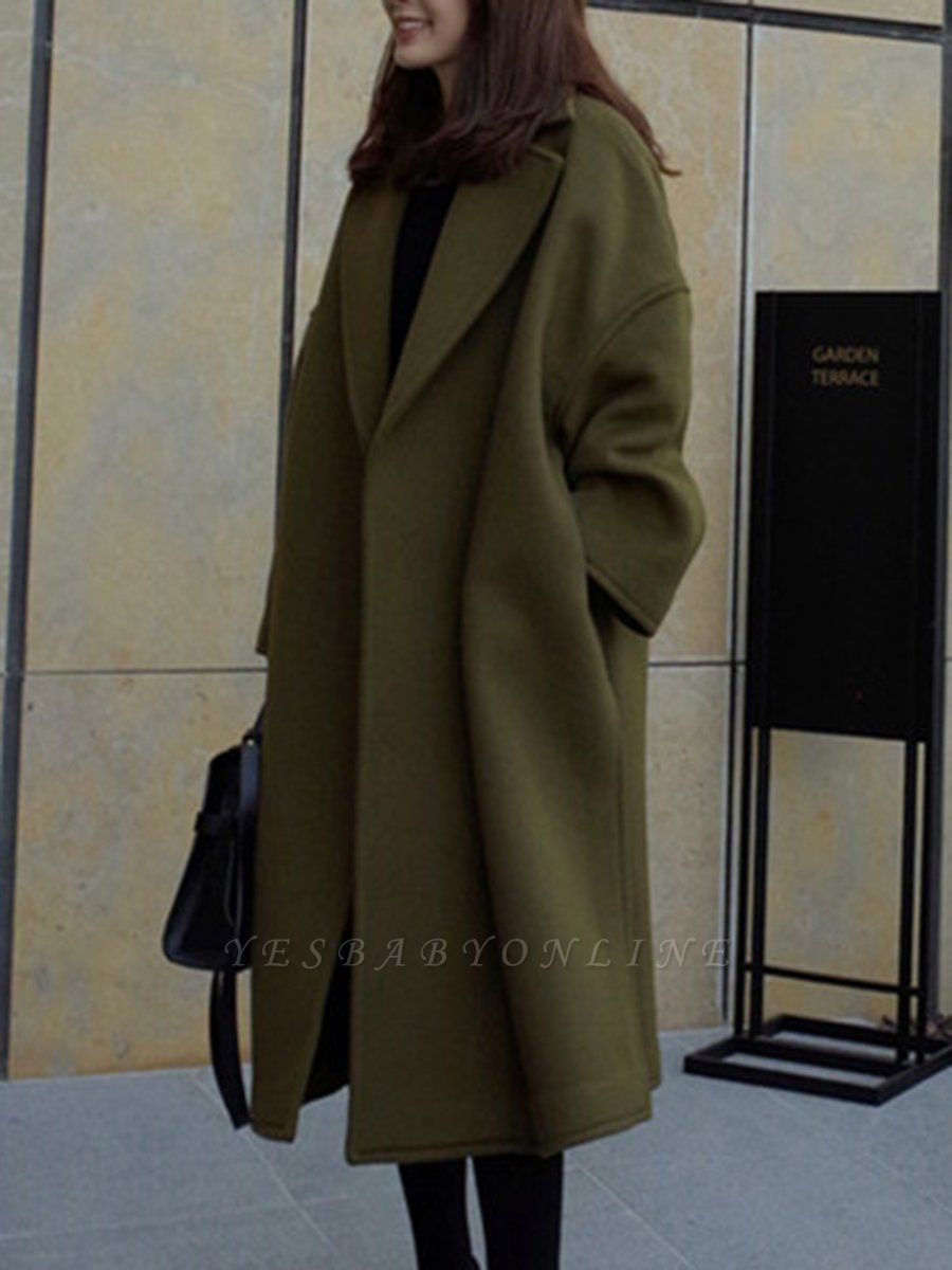 Easy Matching Casual Long sleeve Slit Cotton Solid Coat