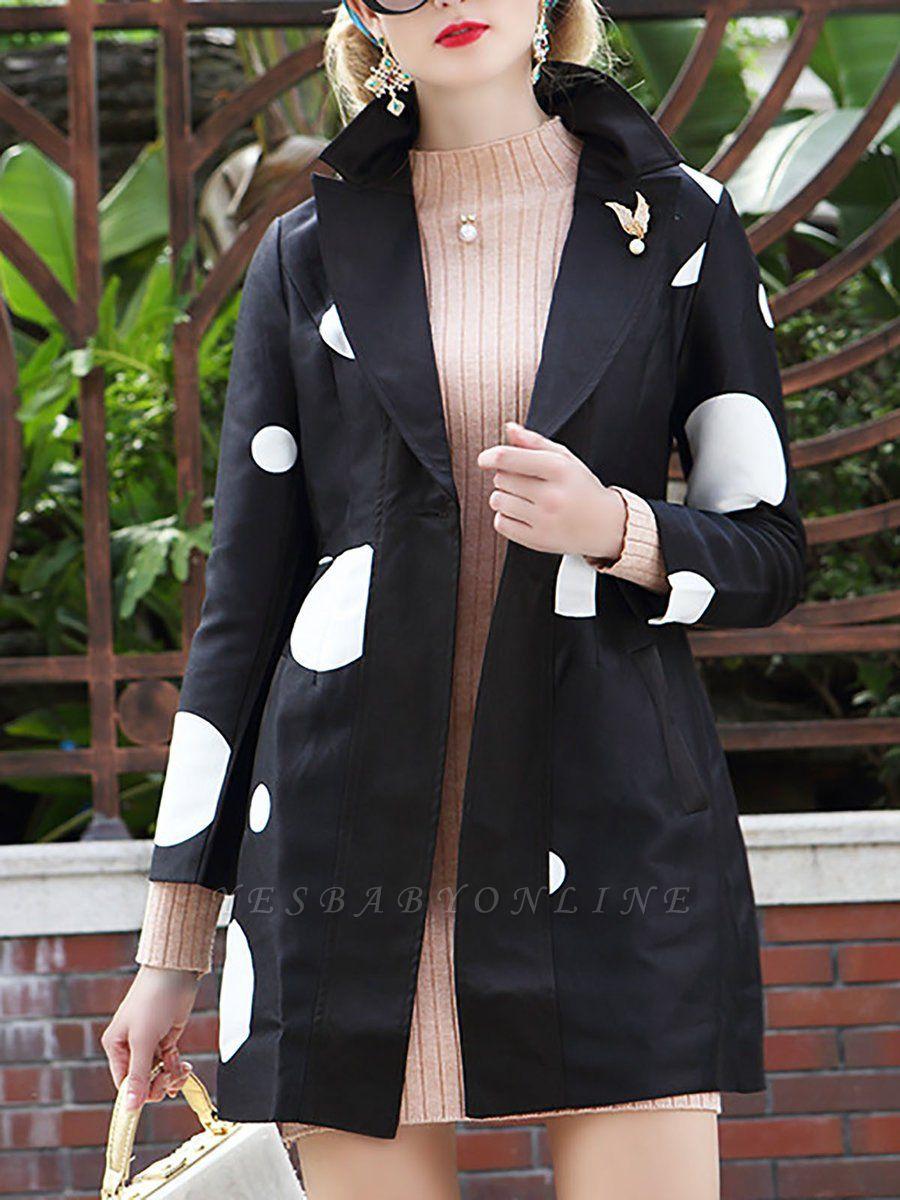 Black Polka Dots Long Sleeve Casual Coat with Brooch