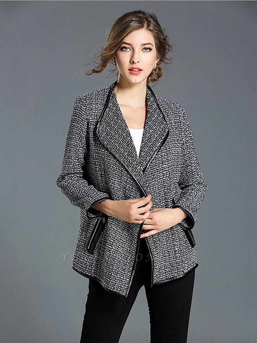 Gray Work Pockets Shift Shawl Collar Long Sleeve Coat