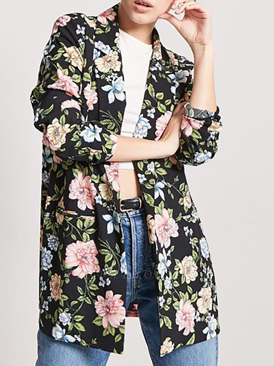 Black Cotton Casual Shift 3/4 Sleeve Floral Coat
