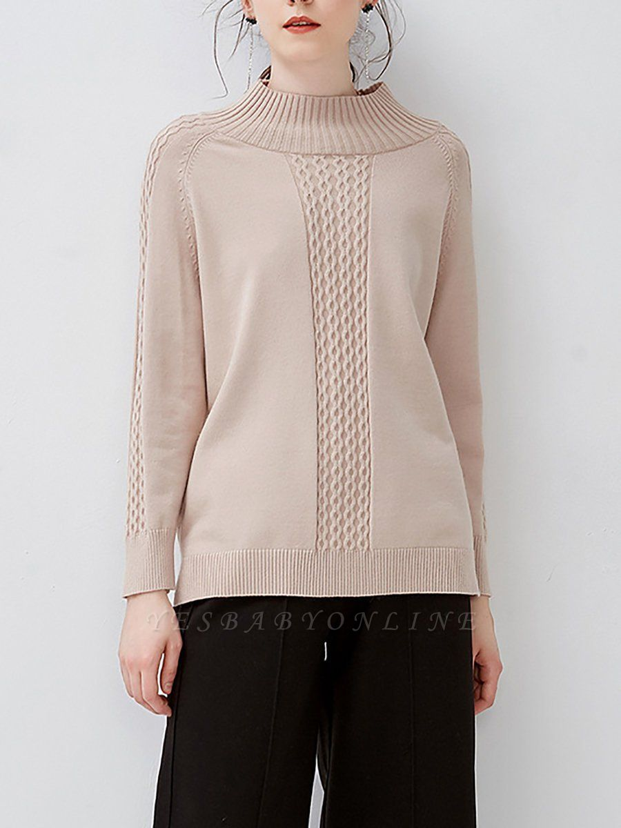Casual Cable Long Sleeve Crew Neck Sweater