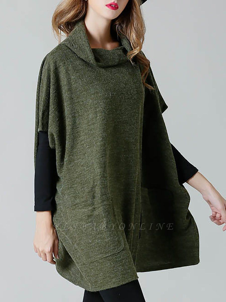 Batwing Cotton Pockets Casual Shift Sweater