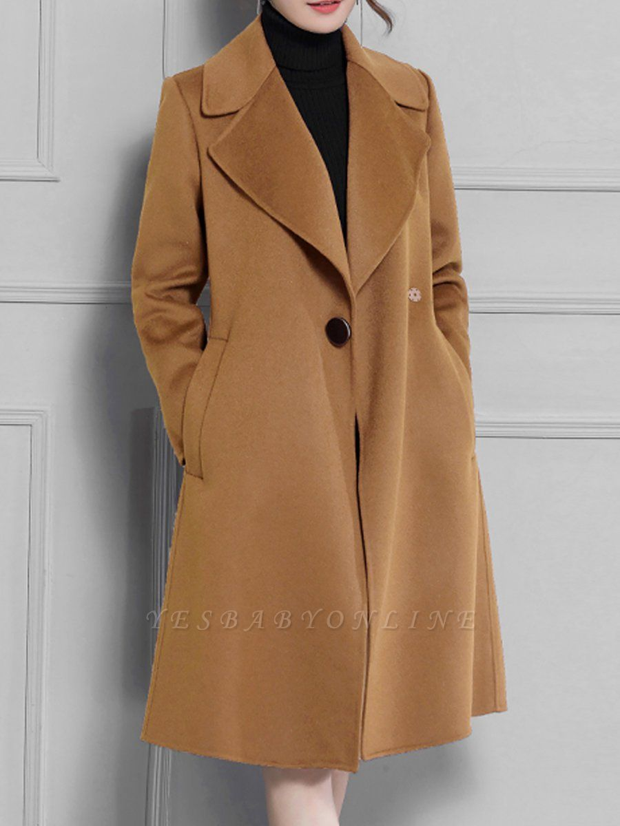Casual Long Sleeve Lapel Solid Pockets Buttoned Coat