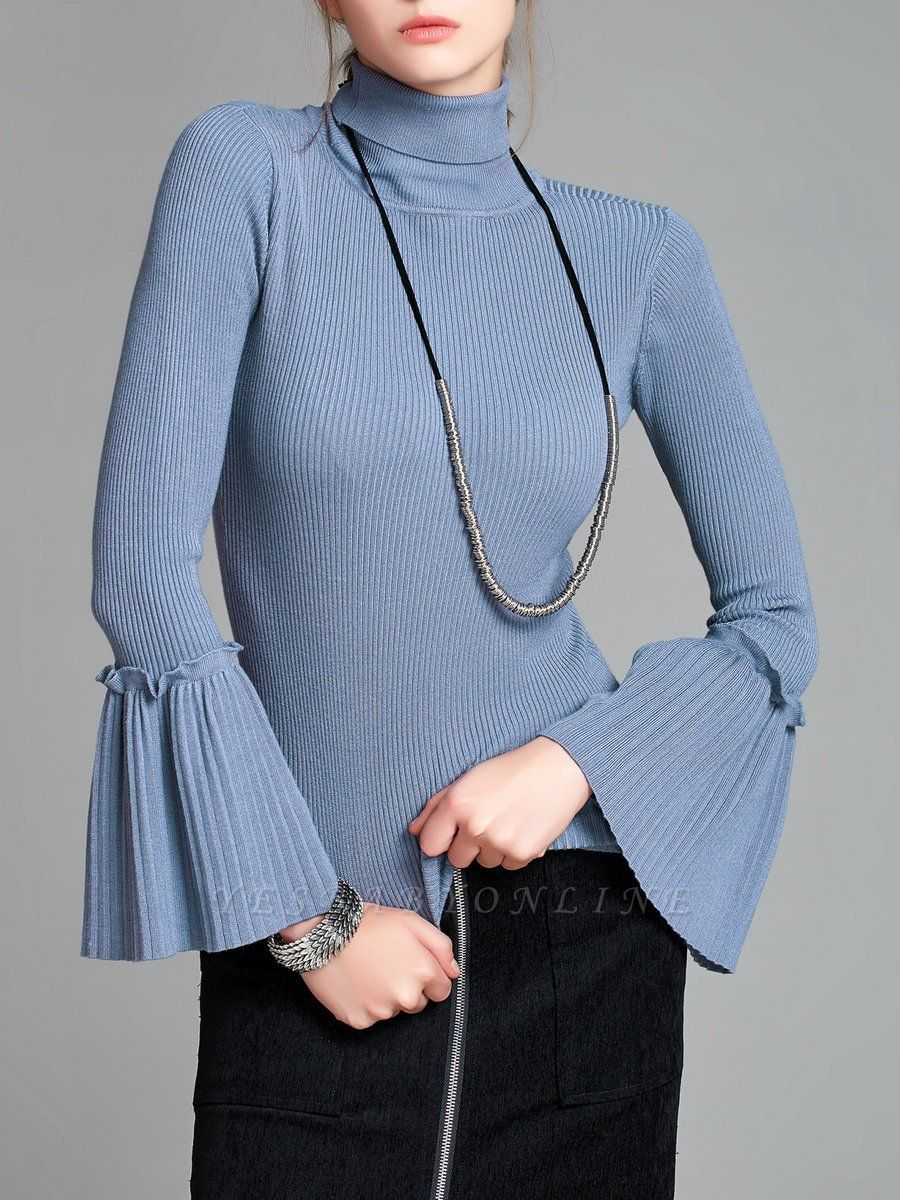 Turtle Neck Casual Bell Sleeve Pleated Sweater