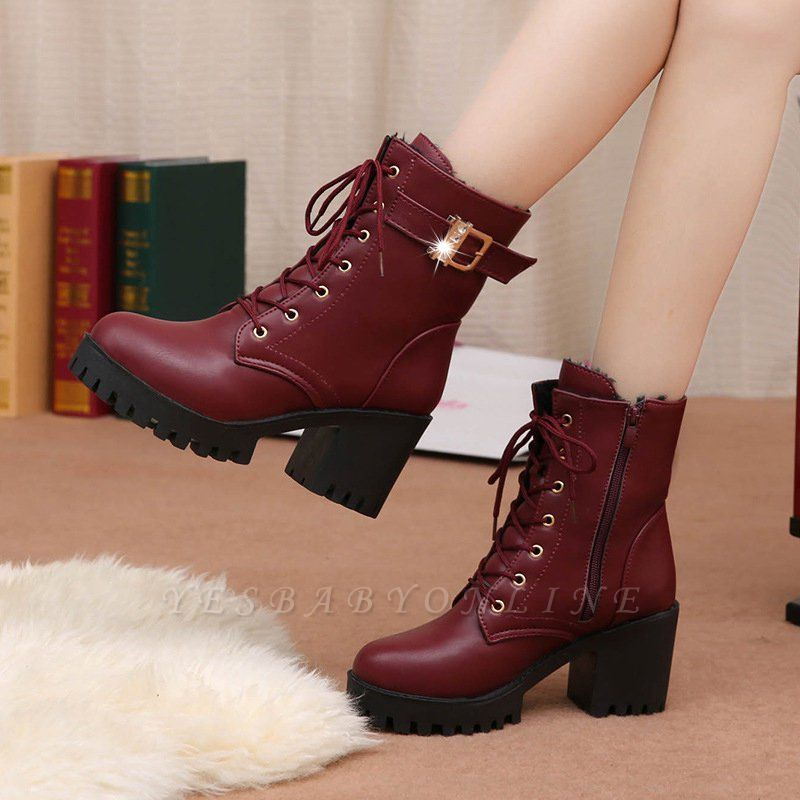 Lace-up Chunky Heel Round Toe Buckle Elegant Boots