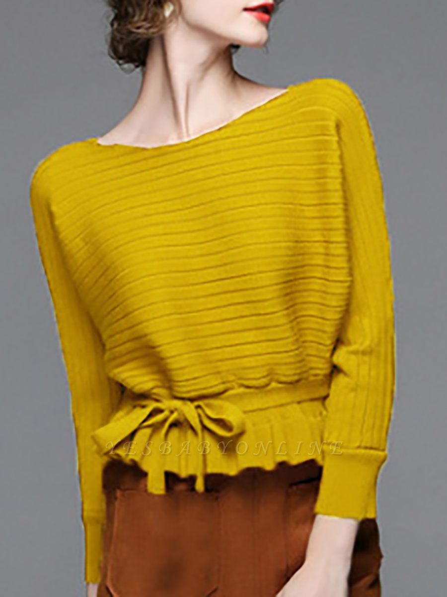 Solid Ribbed Casual Long Sleeve Sweater
