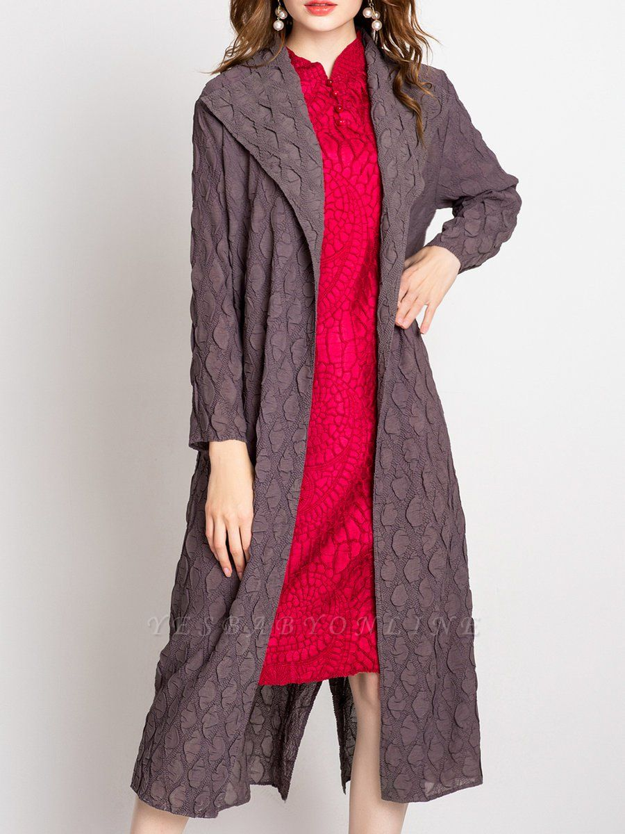 Long Sleeve Casual Slit Embossed Shawl Collar Solid Coat