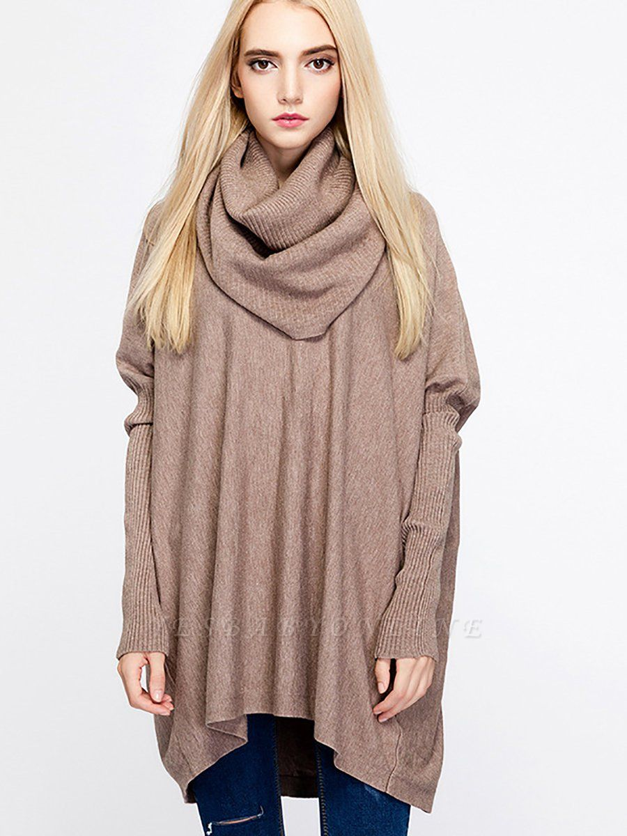 Casual Solid Long Sleeve Shift Sweater