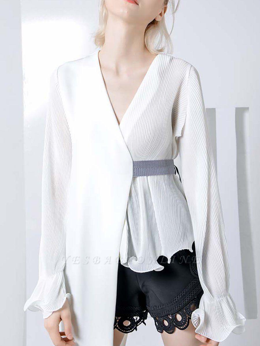 Frill Sleeve Casual Asymmetrical V neck Ruffled Folds Coats