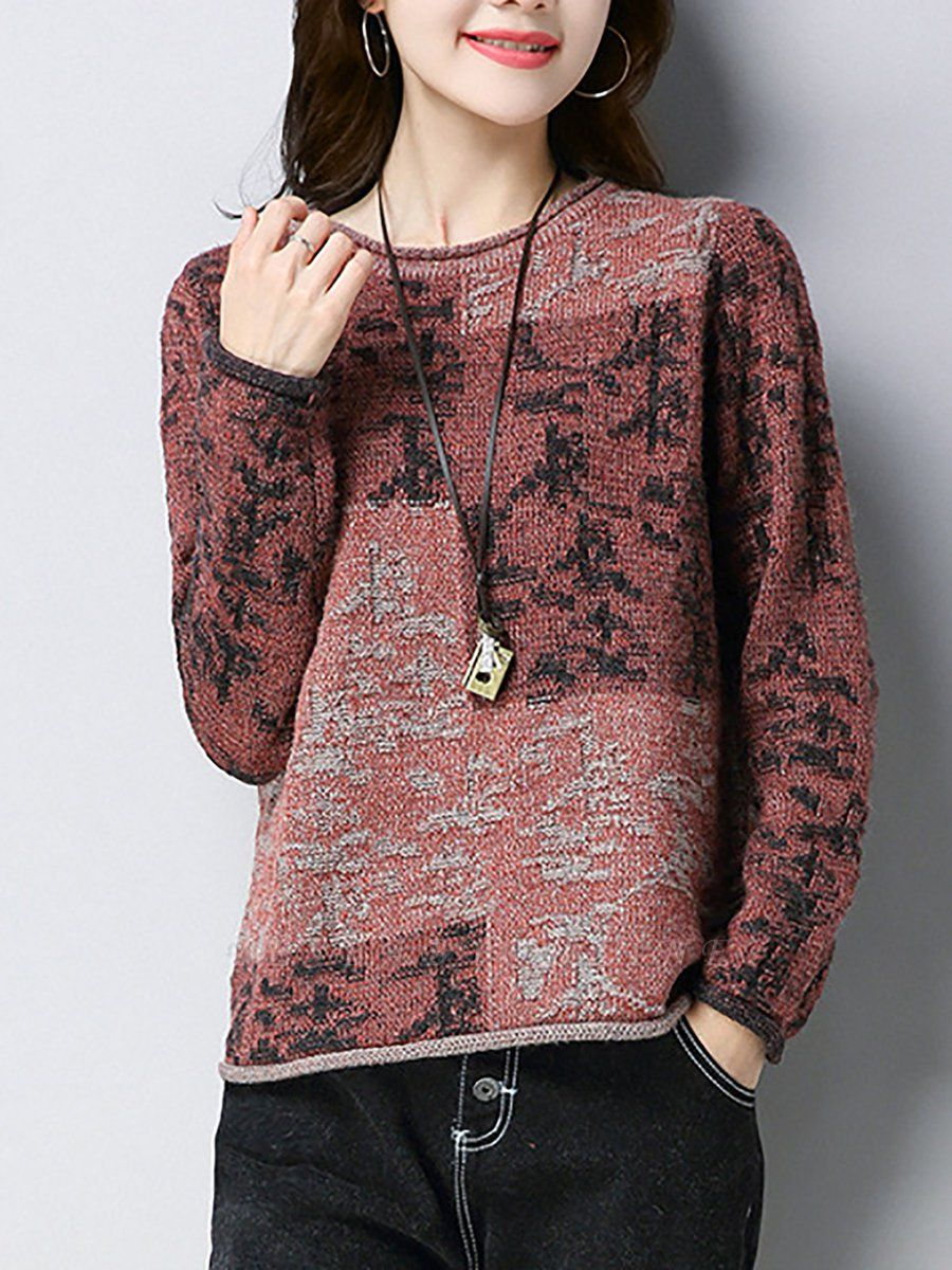 Casual Shift Long Sleeve Wool Color-block Sweater