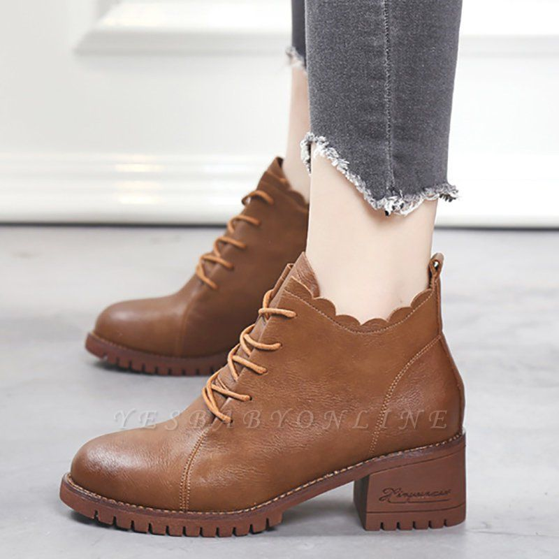 Chunky Heel Zipper Round Toe Lace-up Boots