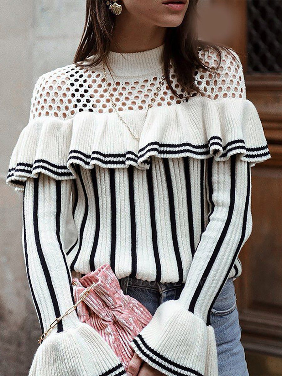 White Casual Printed Sweater