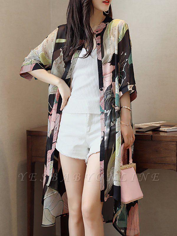 Asymmetric Stand Collar 3/4 Sleeve Holiday Chiffon Coat