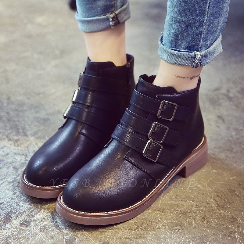 Zipper Daily Chunky Heel Round Toe Buckle Boots