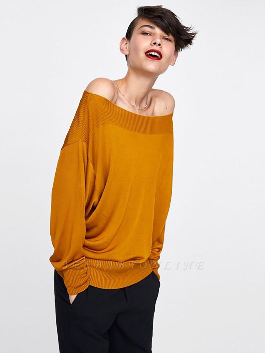 Casual Shift Long Sleeve Crew Neck Paneled Sweater