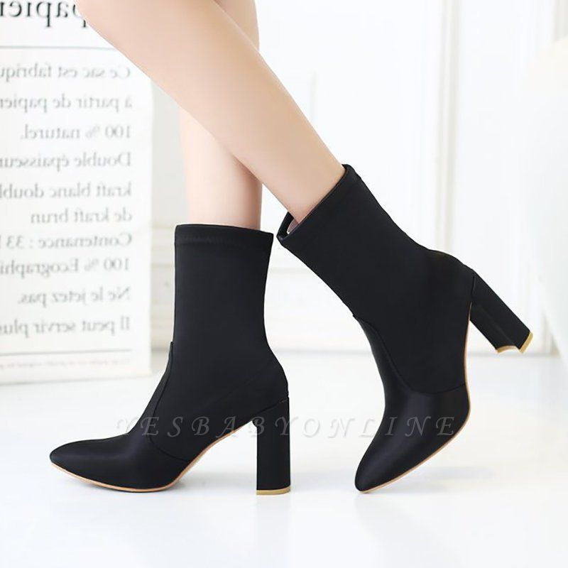Daily Chunky Heel Zipper Pointed Toe PU Boots