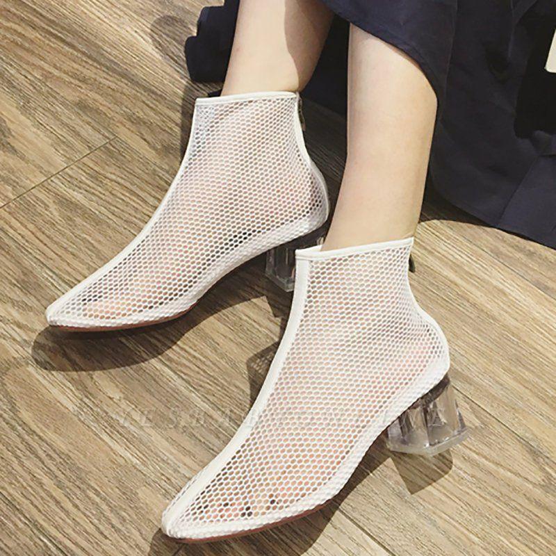 Zipper Daily Mesh Chunky Heel Boots