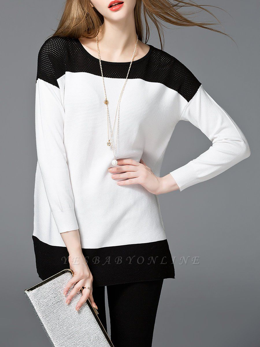 White Cotton Solid Long Sleeve Sweater