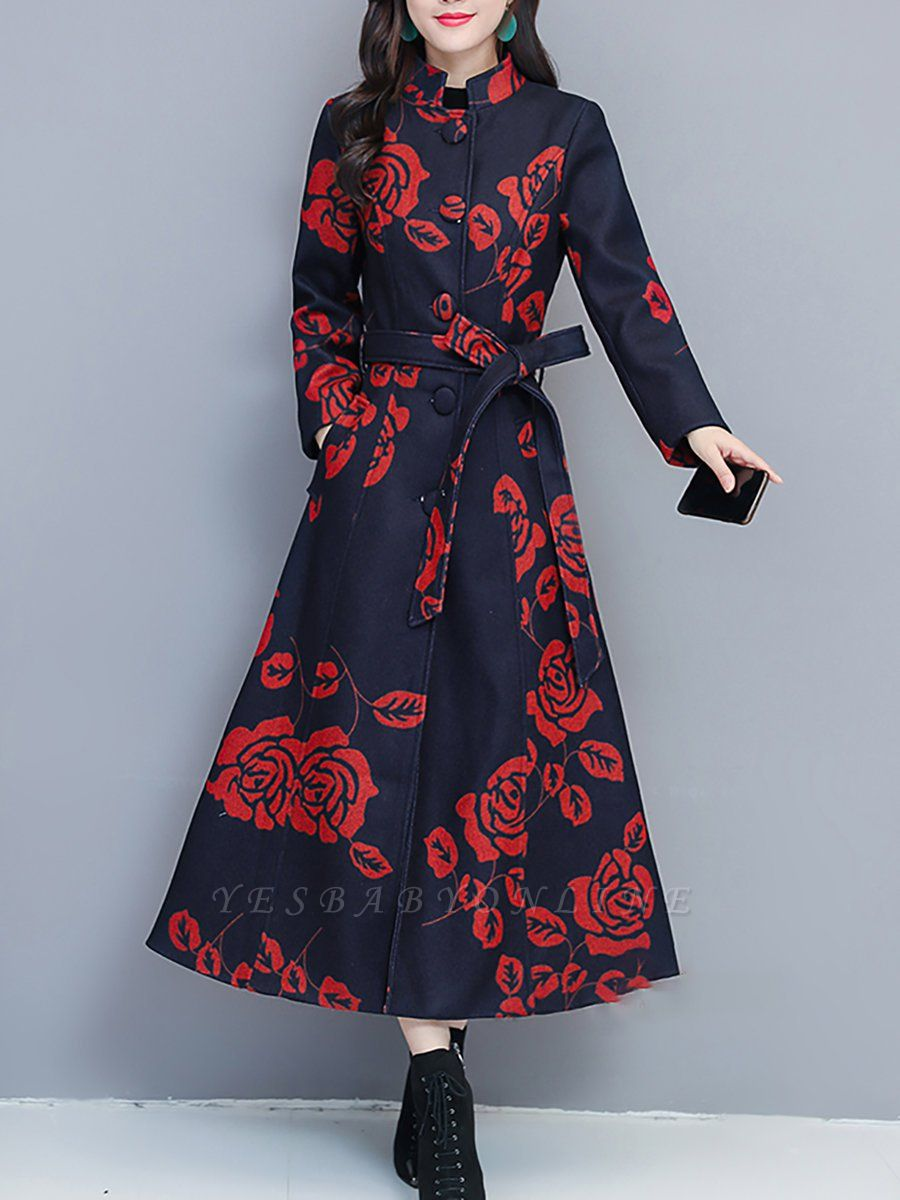 Printed Stand Collar Buttoned Pockets A-line Coat