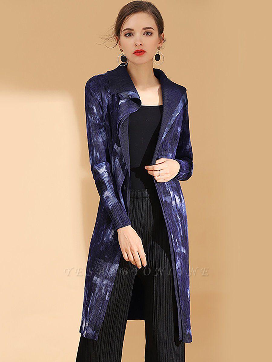 Purple Reversible Printed Pleated Coat