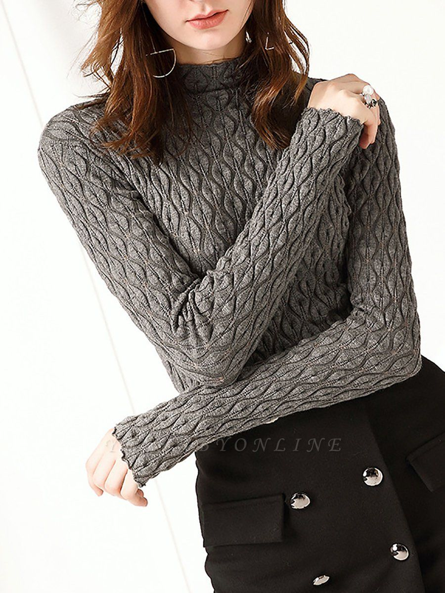 Stand Collar Casual Long Sleeve Wool Cable Sweater