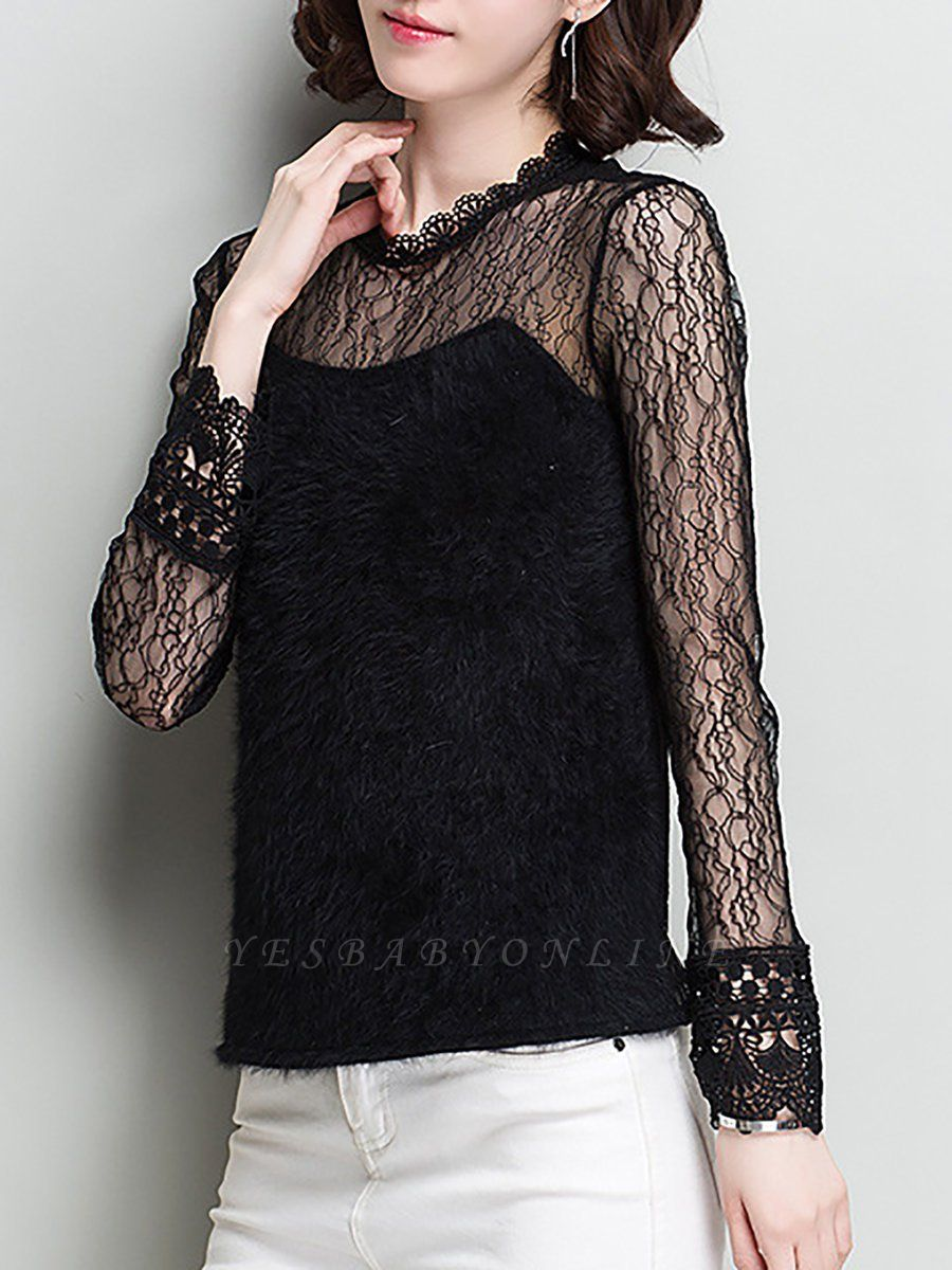 Wool Casual Long Sleeve Sweater Lace Mesh Knitted Top