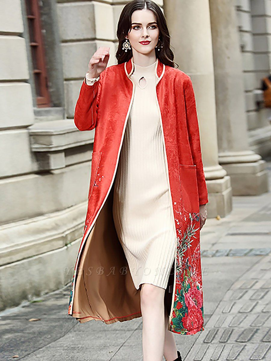 Long Sleeve Stand Collar Floral Printed Pockets Coat