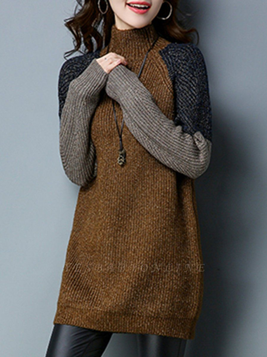 Long Sleeve Casual Intarsia Knitted Turtleneck Sweater