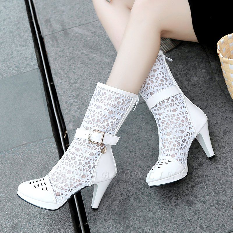 Buckle Hollow-out Zipper Round Toe Boots