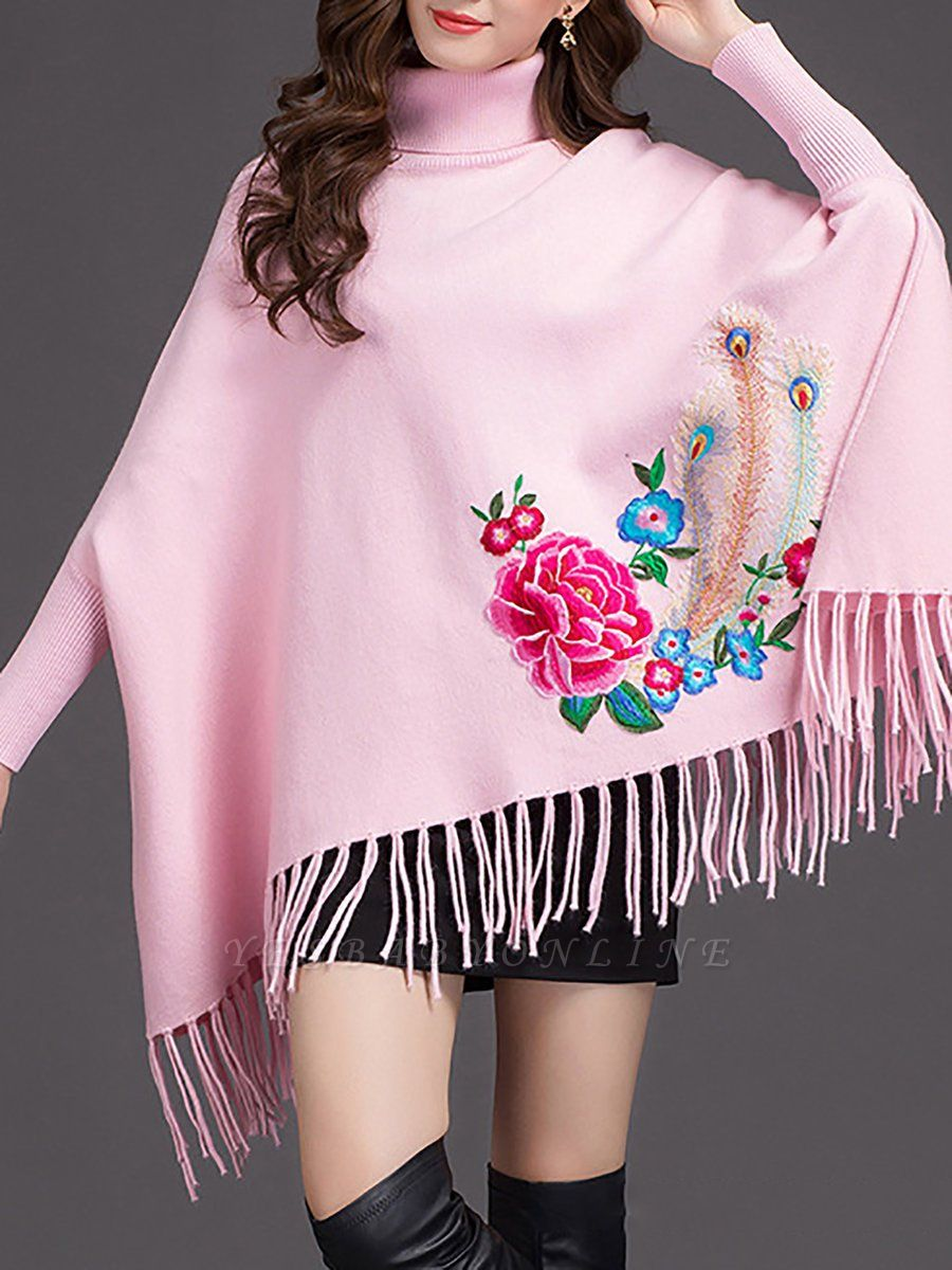 Batwing Elegant Floral Shift Sweaters