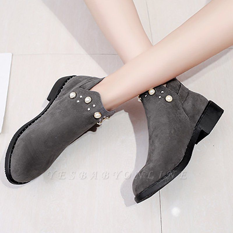 Suede Chunky Heel Daily Beading Round Toe Boot