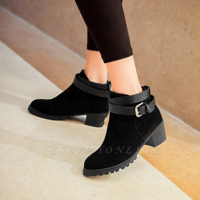 Buckle Chunky Heel Pointed Toe Elegant Boots