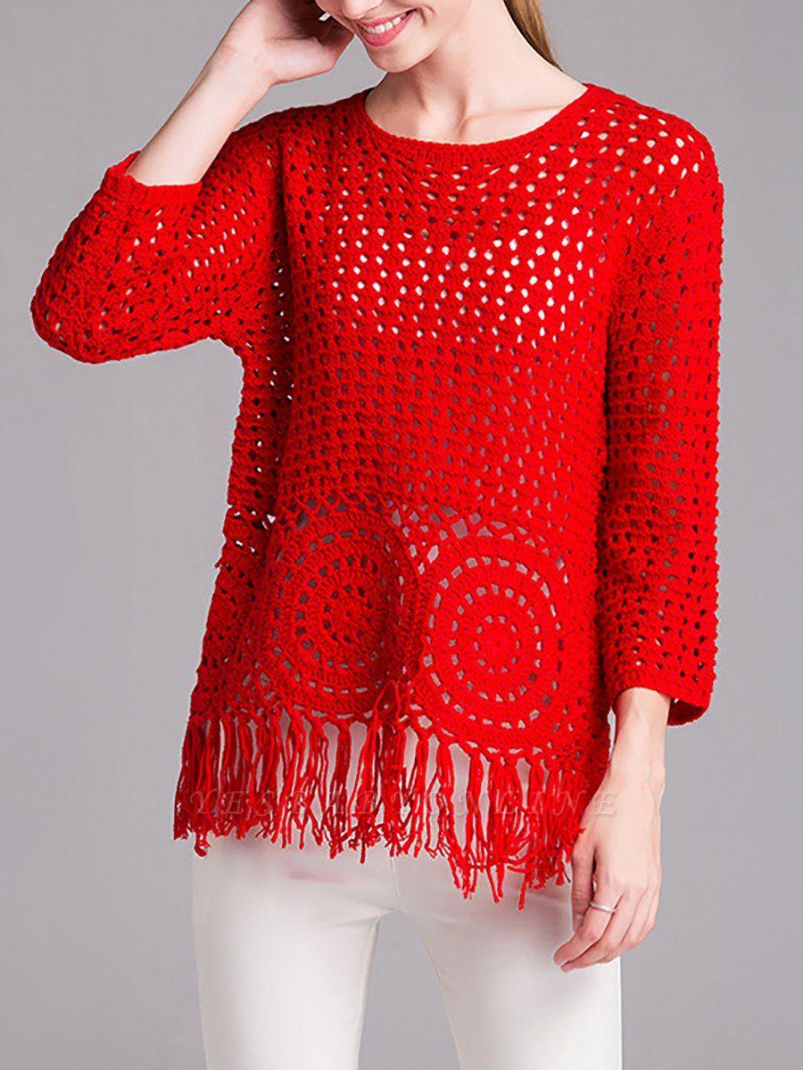 Red Geometric Shift Long Sleeve Sweater