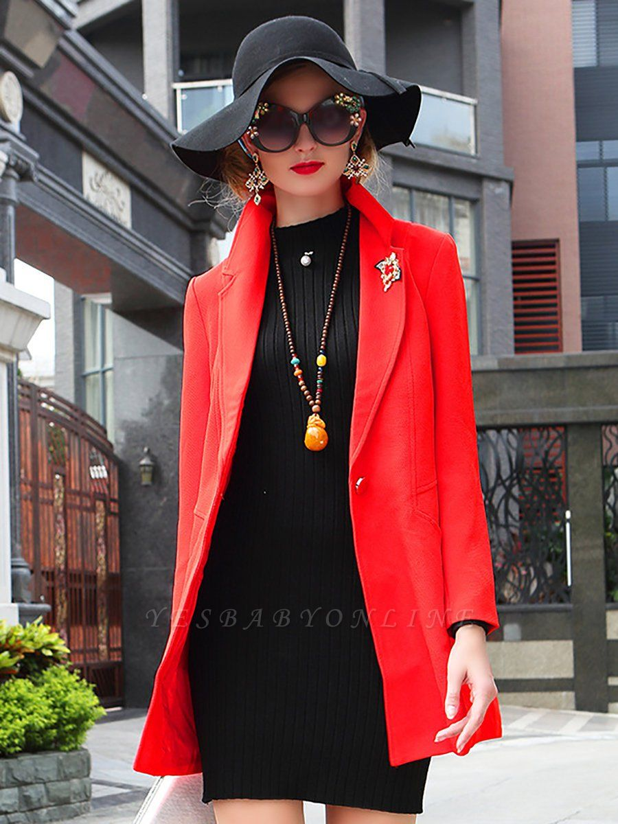 Red Solid Work Cotton Buttoned Pockets Patch Coat