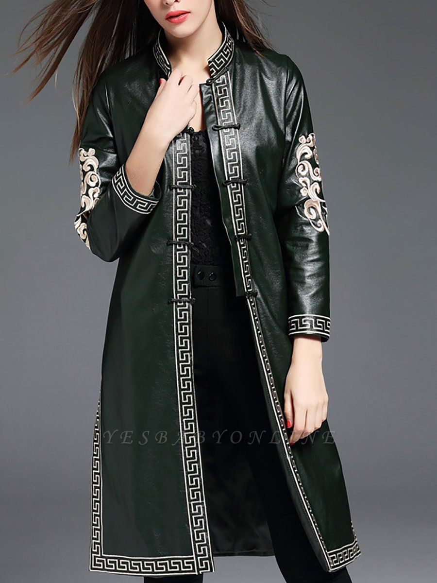 Green Buttoned PU Stand Collar Embroidered Coat