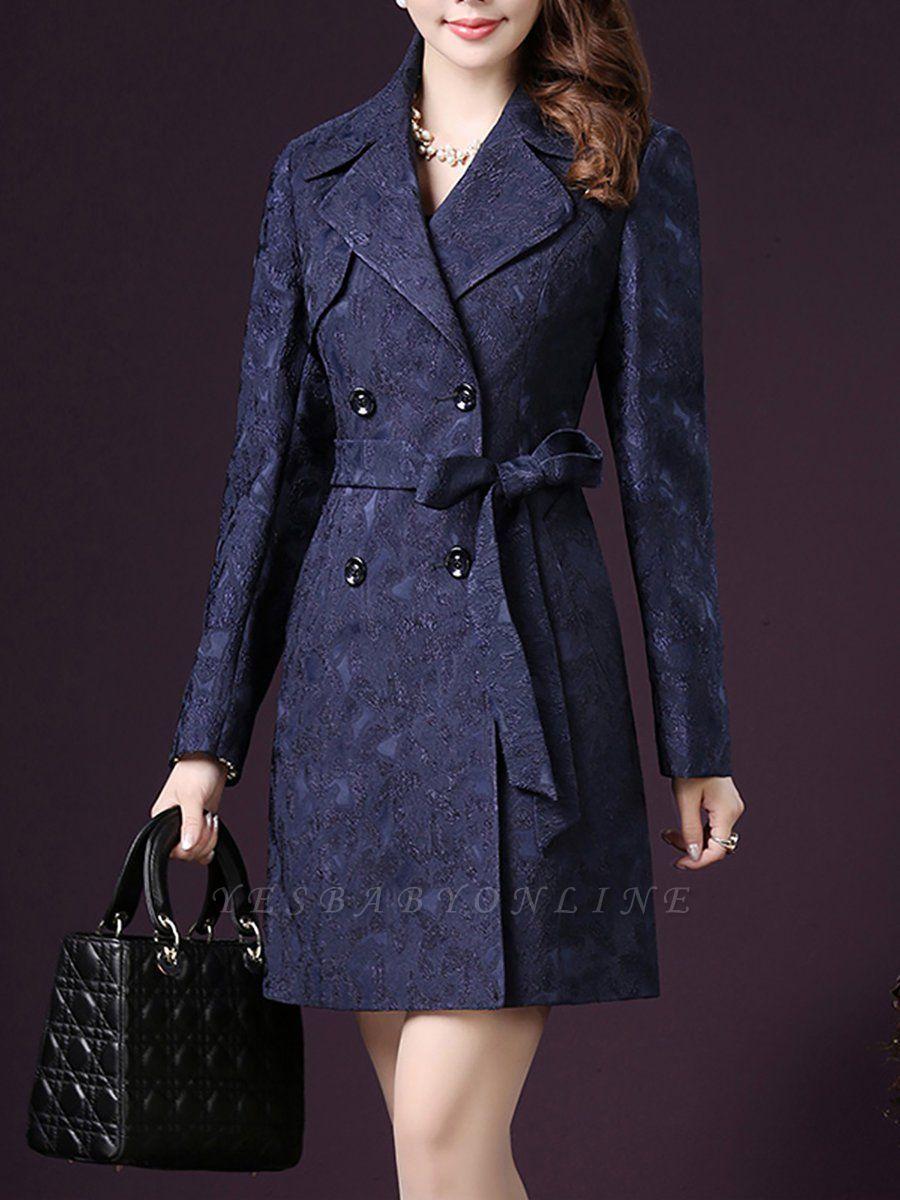 Blue Long Sleeve Blouson Buttoned Work Coat