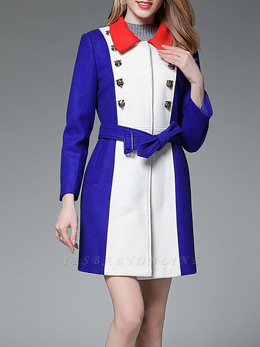 Royal blue Solid Buttoned Pockets Color-block Coat