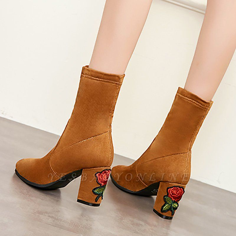 Chunky Heel Working Suede Square Toe Boot