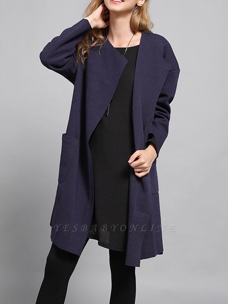 Navy Blue Pockets Solid Long Sleeve Coat