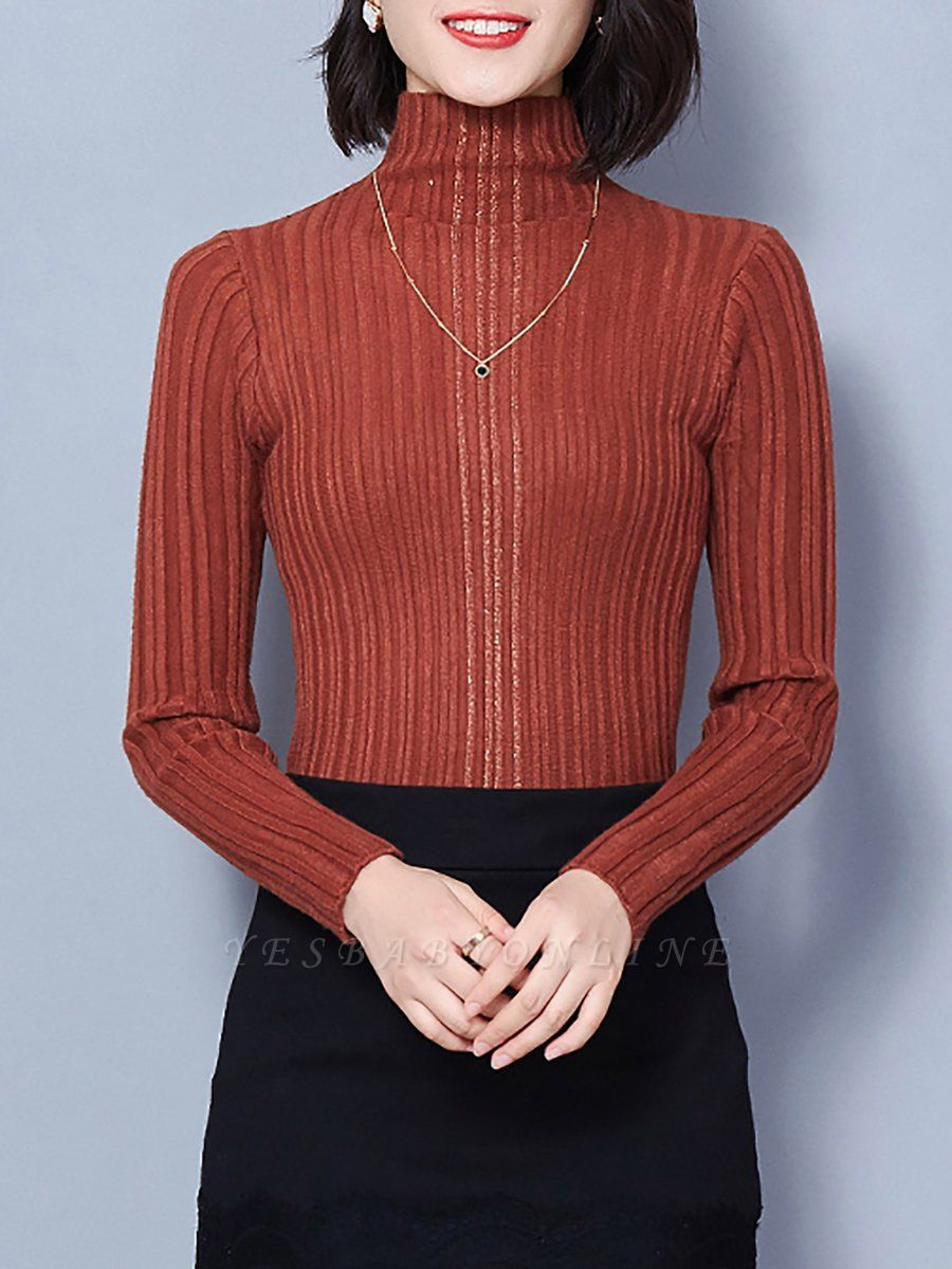 Ribbed Long Sleeve Solid Casual Sheath Sweater