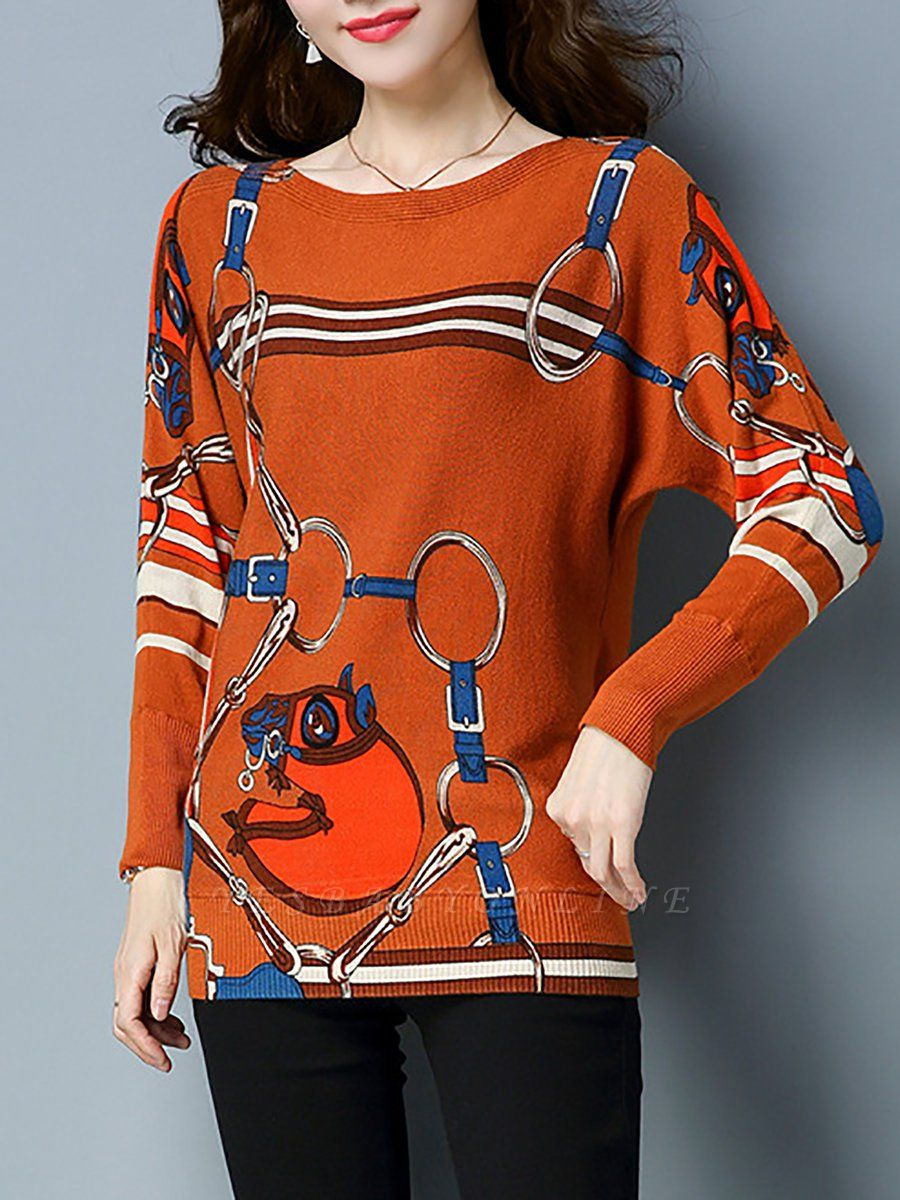 Long Sleeve Printed Shift Casual Sweater