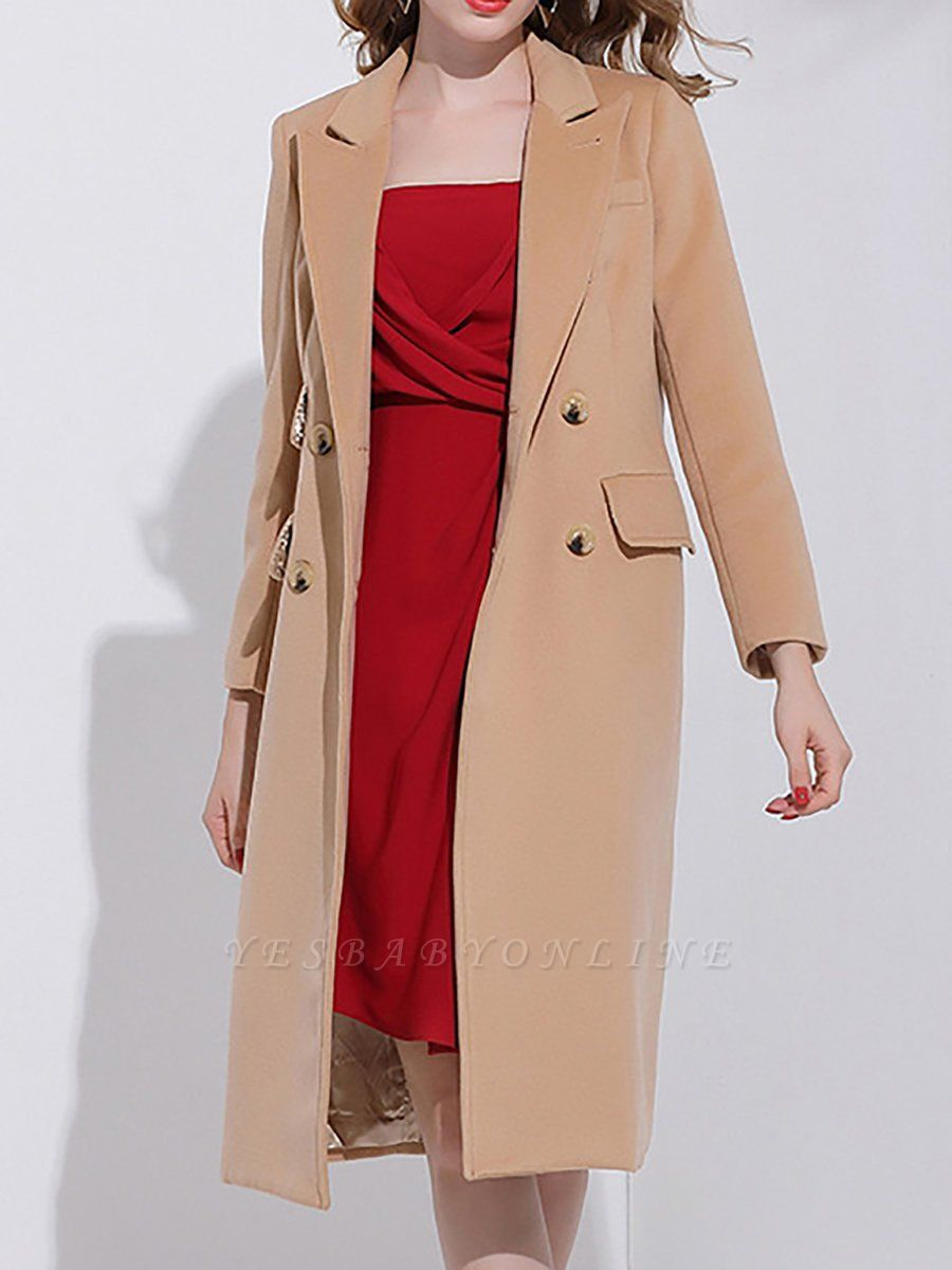 Camel Solid Long Sleeve Zipper Pockets Lapel Coat