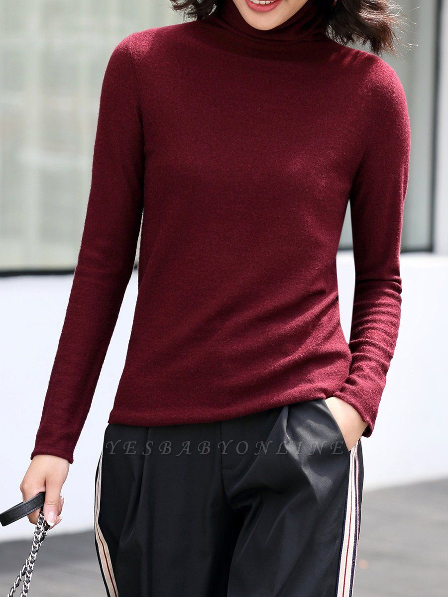 Casual Shift Long Sleeve Solid Turtleneck Sweater