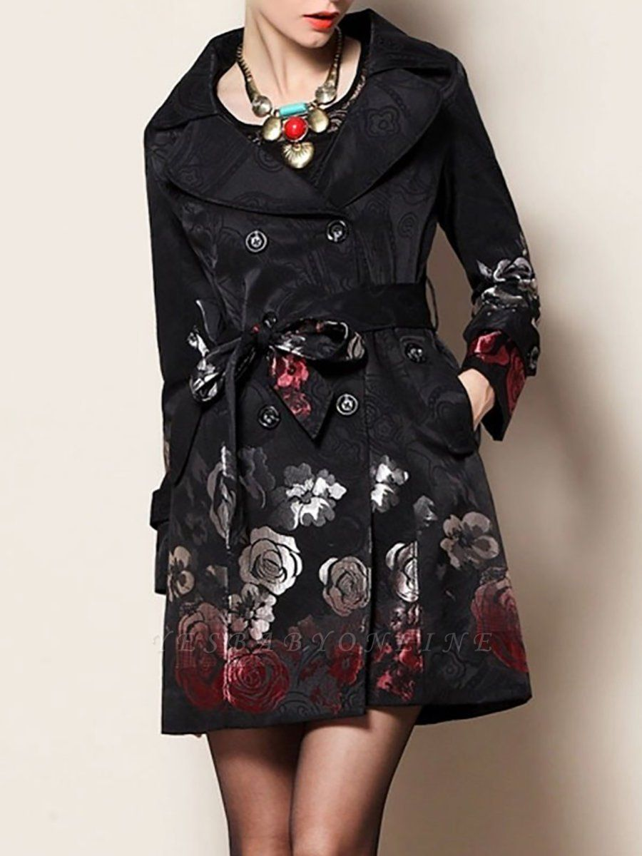 Black Floral Casual Long Sleeve Pockets Buttoned Jacquard Coat