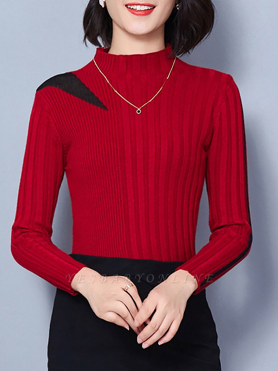 Solid Stand Collar Long Sleeve Casual Sheath Sweater
