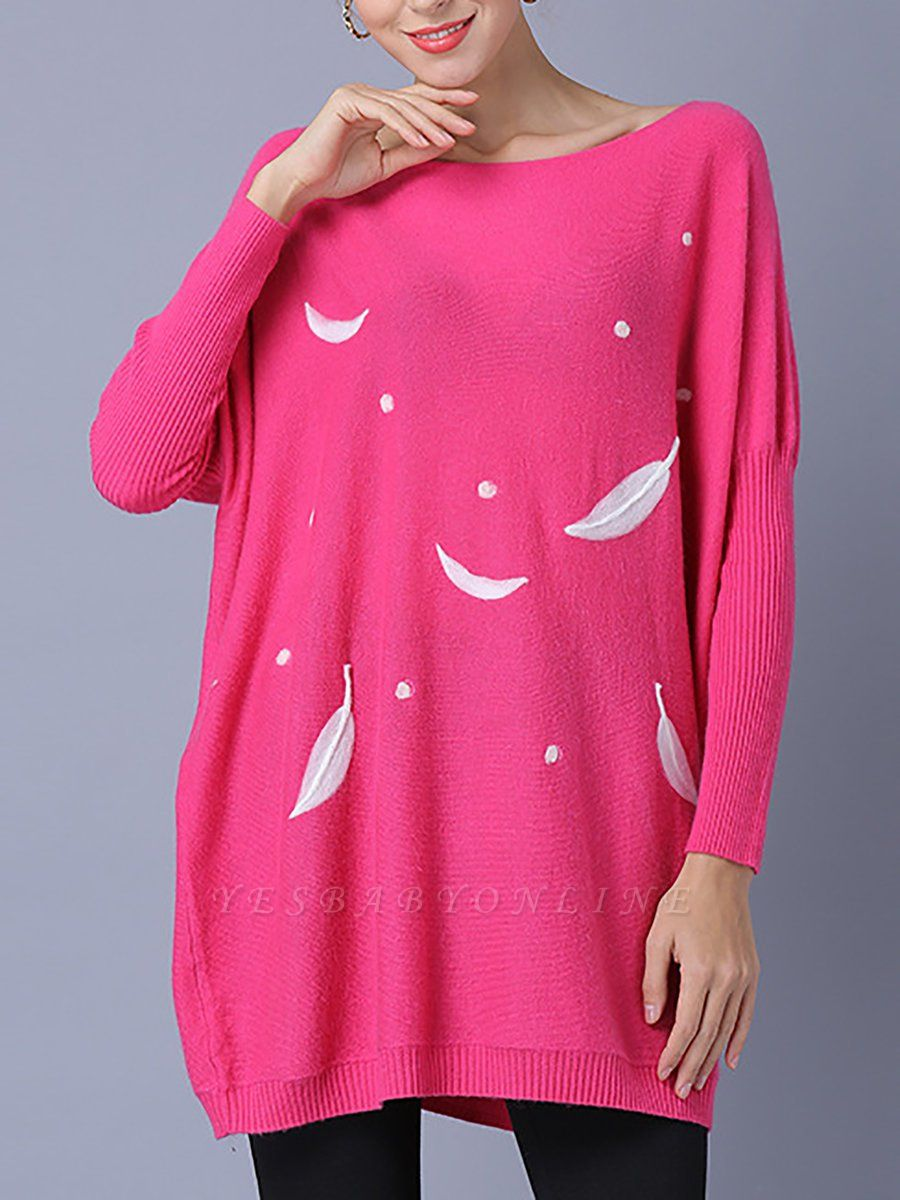 Rose Printed Wool Bateau/boat neck Batwing Casual Sweater