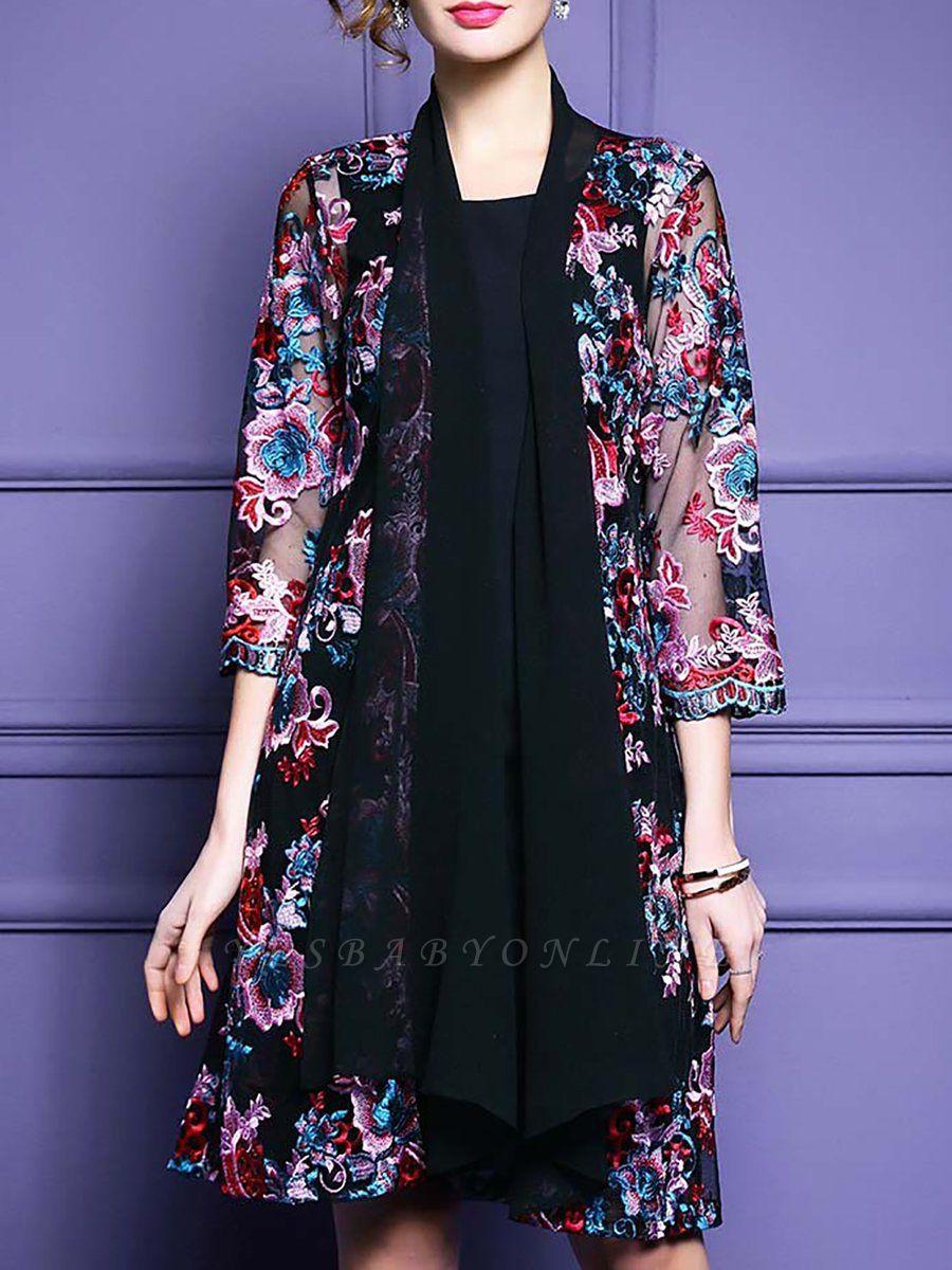 Black Floral Shift 3/4 Sleeve Casual Coat